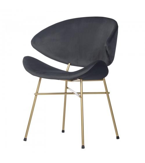 Krzesło Cheri Gold- velours - ciemny szary