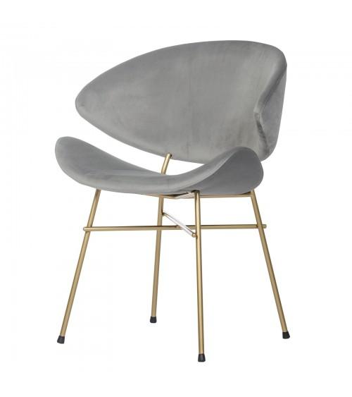 Krzesło Cheri Gold- velours - jasny szary