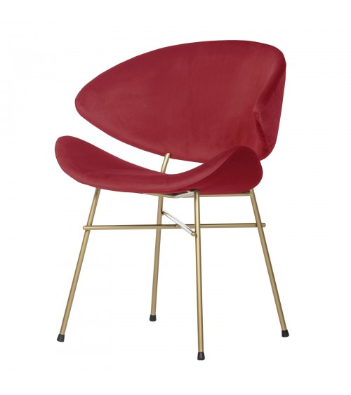 Krzesło Cheri Gold- velours - czerwony