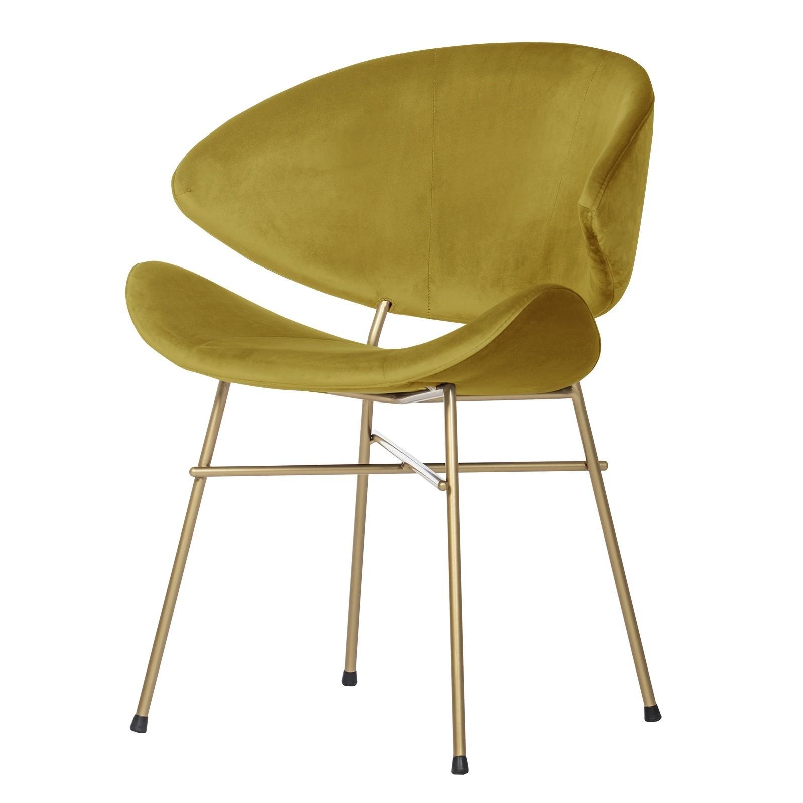 Krzesło Cheri Gold- velours - musztardowy