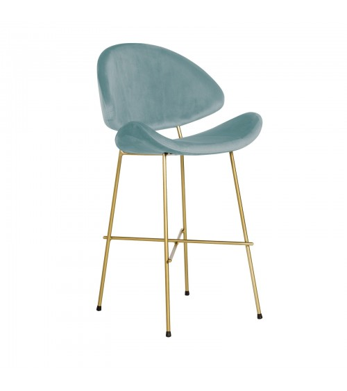 Bar Stool Cheri Bar Chrome Low - velours - chair - light blue
