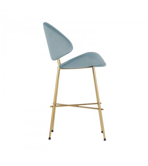 Bar Stool Cheri Bar Chrome Low - velours - chair - light blue