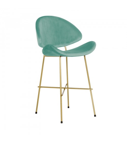 Bar Stool Cheri Bar Chrome Low - velours - chair - mint