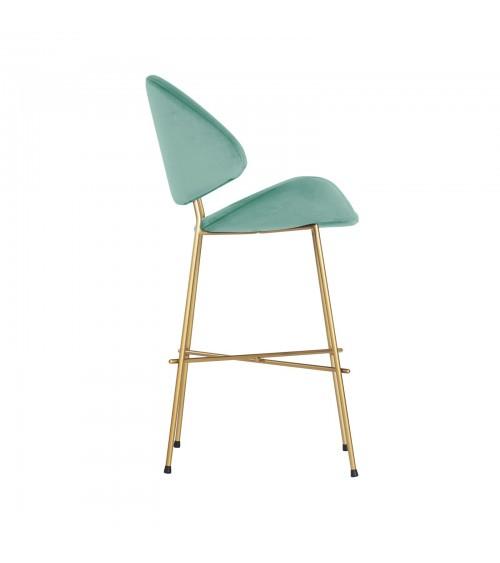 Bar Stool Cheri Bar Chrome Low - velours - chair - mint
