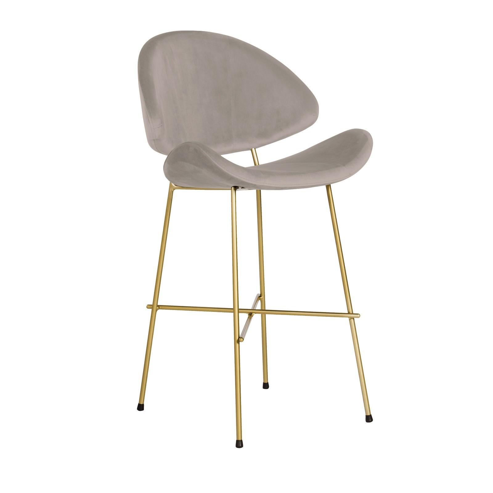 Bar Stool Cheri Bar Chrome Low - velours - chair - dark green