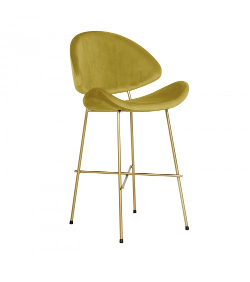 Bar Stool Cheri Bar Chrome Low - velours - chair - mustard