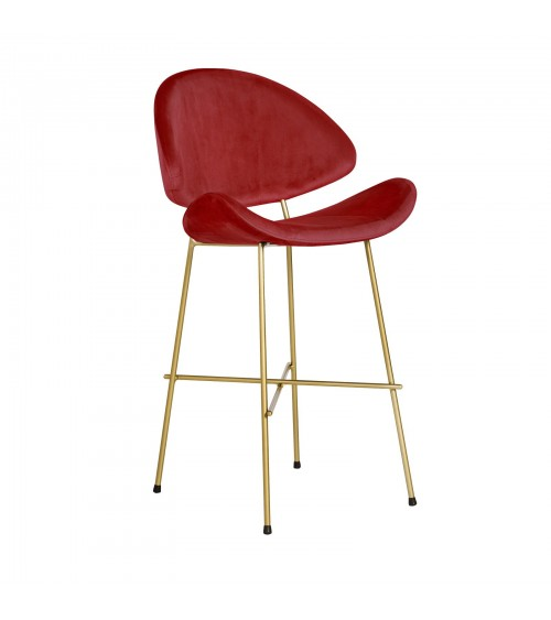 Bar Stool Cheri Bar Chrome Low - velours - chair - red