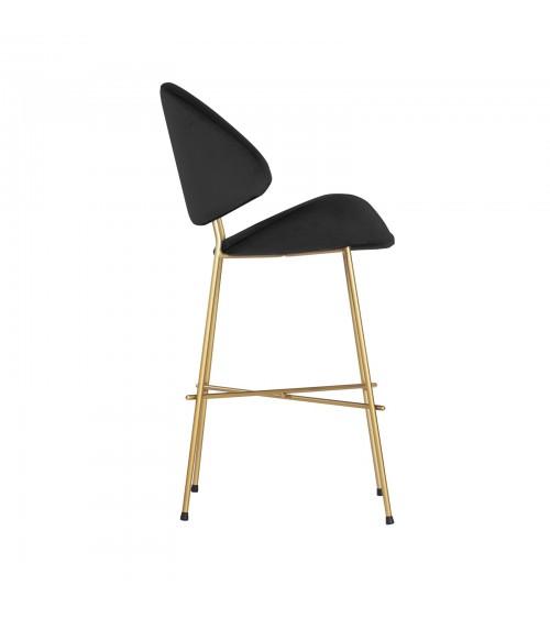 Krzesło barowe Cheri Bar Gold low  - velours  - czerwony