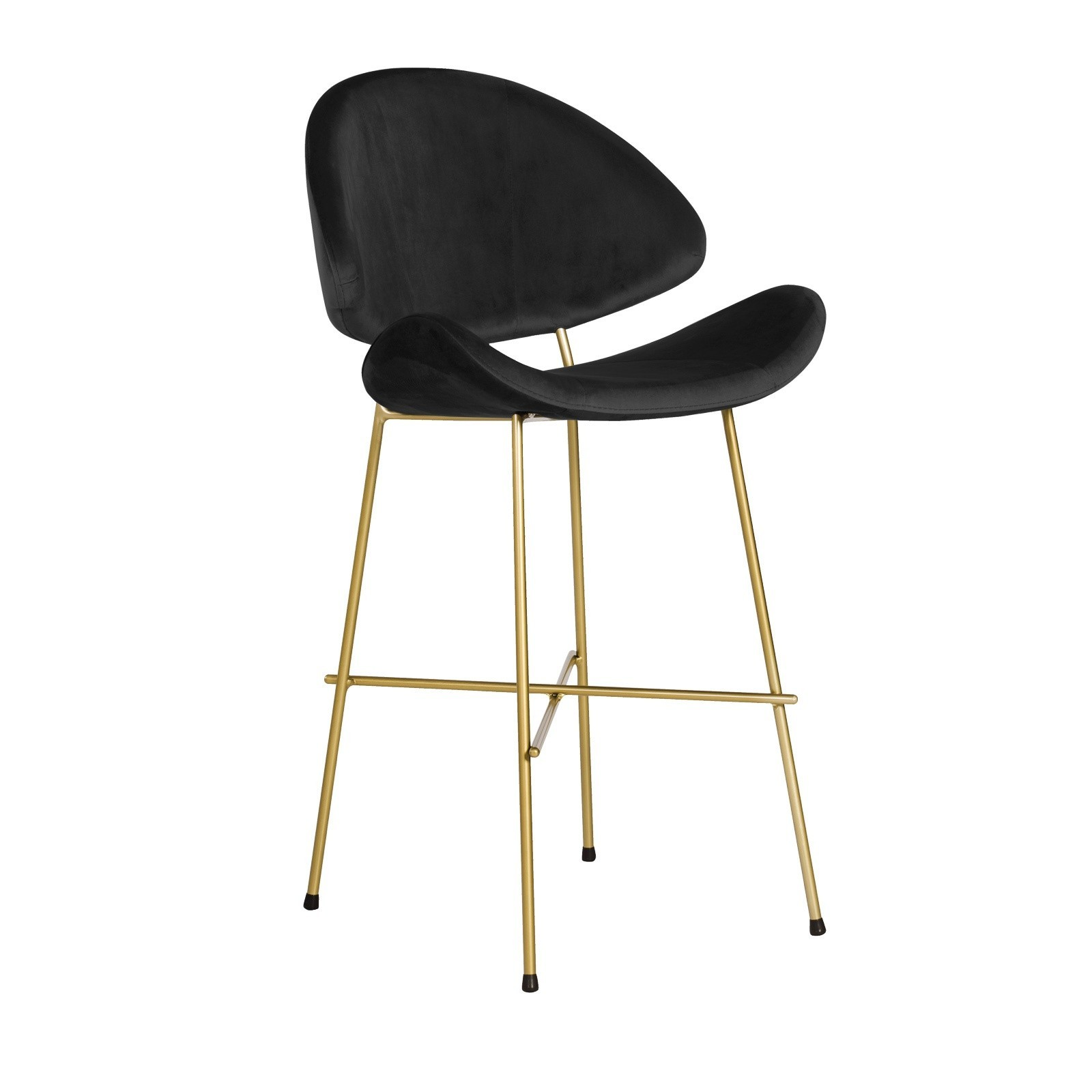 Bar Stool Cheri Bar Chrome Low - velours - chair - red