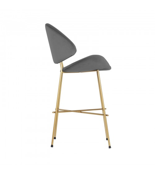 Bar Stool Cheri Bar Chrome Low - velours - chair - dark grey