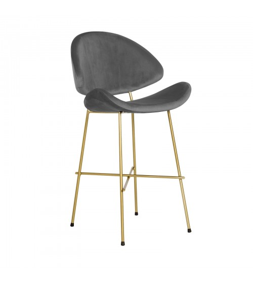 Bar Stool Cheri Bar Chrome Low - velours - chair - dark grey