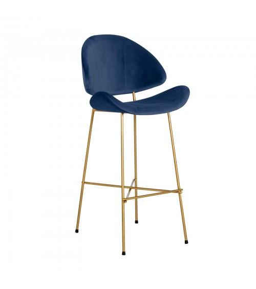 Krzesło barowe Cheri Bar Gold -  velours  - granatowy