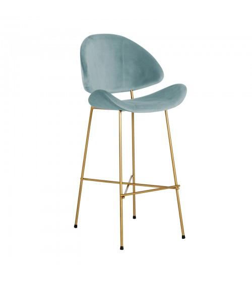 Krzesło barowe Cheri Bar Gold -  velours  - jasnoniebieski