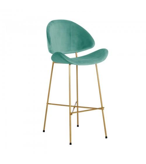 Krzesło barowe Cheri Bar Gold -  velours  - miętowy