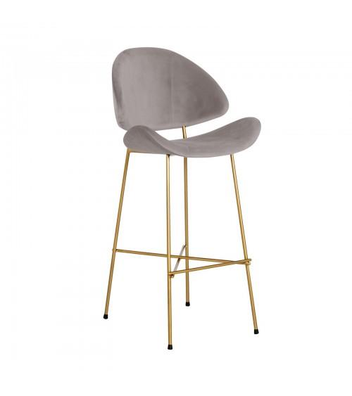 Krzesło barowe Cheri Bar Gold -  velours  - ciemnozielony