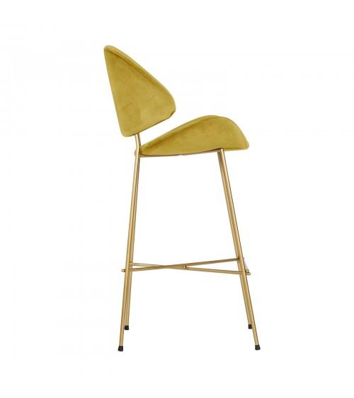 Krzesło barowe Cheri Bar Gold -  velours  - musztardowy