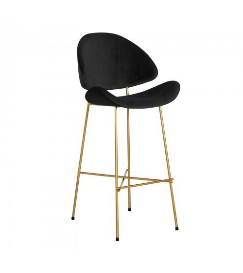 Krzesło barowe Cheri Bar Gold -  velours  - czarny